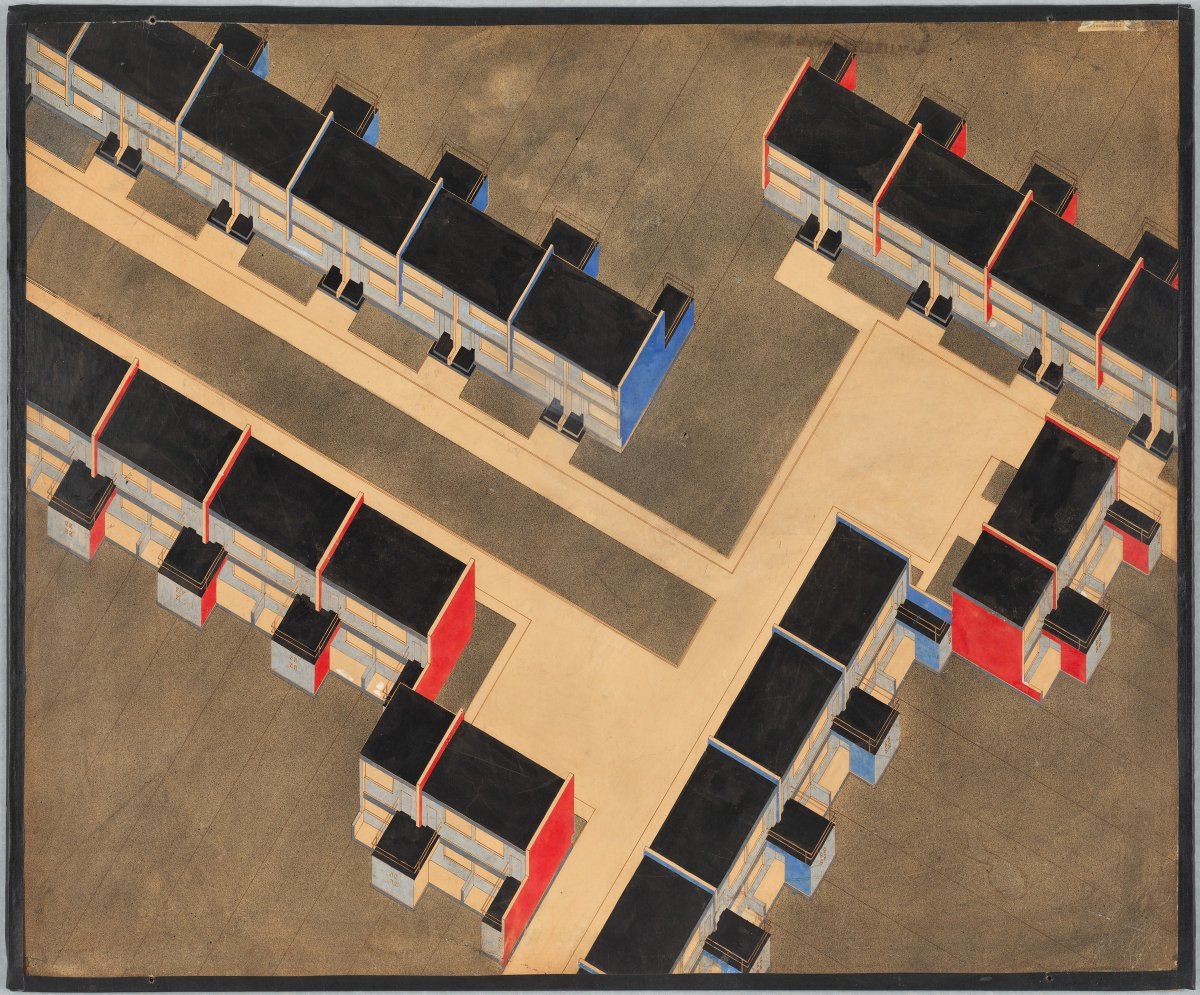 Housing Development, Dessau-Törten, exterior color scheme, building type 1, isometric