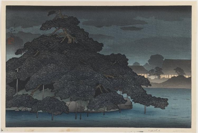 Hasui Kawase, *The Pine Island in Night Rain* (1920)
