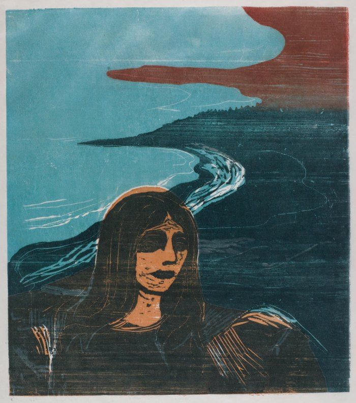 Edvard Munch Woman's Head against the Shore, 1899, woodcut