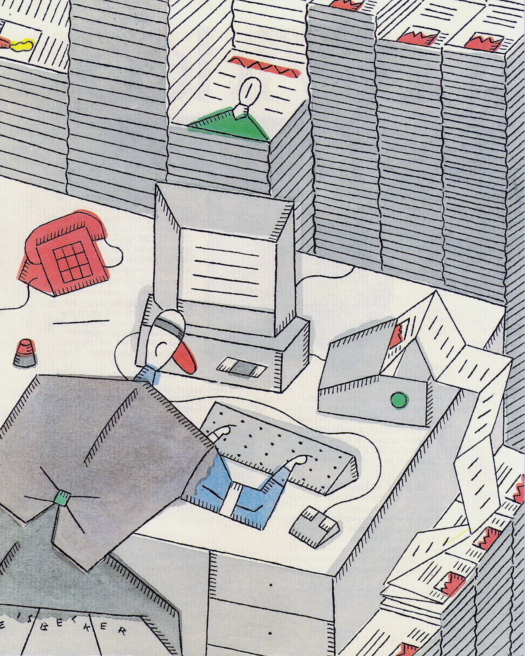"""Phillippe Weisbecker, Illustration from the article """"To Have and Have Not"""" in AmigaWorld, Jan 1988"""