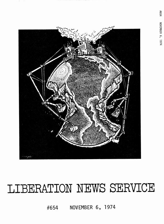 Liberation News Service Packet Cover: November 6, 1974